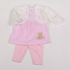 Y1819: Baby Girls Bunny Floral Quilted 2 Piece Legging Set (NB-6 Months)