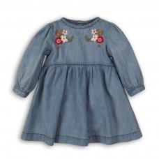 Deer 9: Denim Embroidered Dress (0-12 Months)