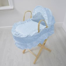 Broderie Anglaise Dolls Moses Basket- Blue