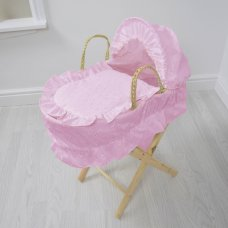 Broderie Anglaise Dolls Moses Basket- Pink