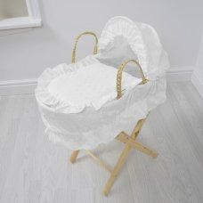 Broderie Anglaise Dolls Moses Basket- White