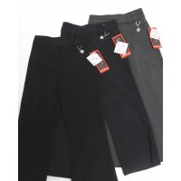 Double Belt, Half Elastic School Trouser - Black 2-3 Years