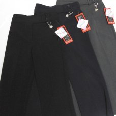 Double Belt, Half Elastic School Trouser - Black
