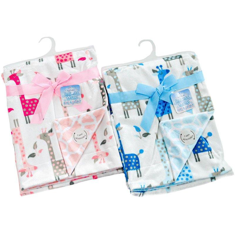 FBP130: Reversible Giraffe Print Double Layer Micro Mink Wrap