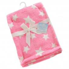 FBP150-P: Pink Star Printed Coral Fleece Wrap