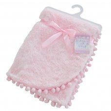 FBP170-P: Pink High Pile Wrap w/Pom Pom Trim