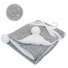 FBP190-G: Grey Wrap w/Print & Pom Pom