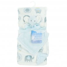 FBP198-B: Reversible Elephant Printed Wrap w/Toy Comforter