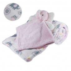 FBP198-P: Reversible Elephant Printed Wrap w/Toy Comforter