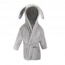 FBR13-G: Plain Grey Dressing Gown w/Ears (6-24 Months)