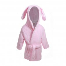 FBR13-P: Plain Pink Dressing Gown w/Ears (6-24 Months)