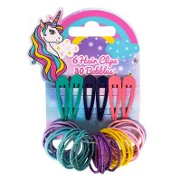 FN9024: 6 Unicorn Clips & 30 Hair Ties