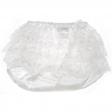 FP04-SC: Cream Satin Frilly Pants (0-12 Months)