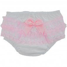 FP10-P: White/Pink Cotton Frilly Pants (NB-18 Months)