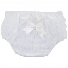 FP12-W: White Cotton Frilly Pants (NB-18 Months)