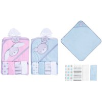 FS635: Baby Hooded Towel & 4 Pack Soft Wash Cloths