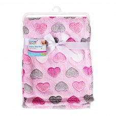 FS717: Supersoft Hearts Fleece Baby Blanket