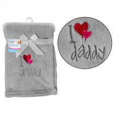 FS738: Supersoft I ♥ Daddy Fleece Baby Blanket