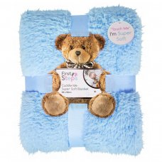 FS746: Kids Blue Super Soft Sherpa Blanket 100x150cm