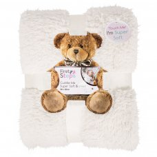 FS747: Kids Cream Super Soft Sherpa Blanket 100x150cm