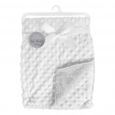 FS842: White Bubble Mink Sherpa Baby Blanket