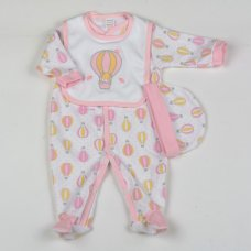 G1389: Baby Girls 3 Piece All In One, Bib & Hat Set (0-9 Months)