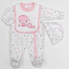 L1251: Baby Girls Kittens 3 Piece All In One, Bib & Hat Set (0-9 Months)