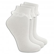 Girls 3 Pack White Frilly Lace TOT Socks