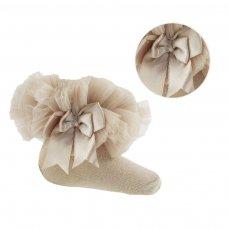 GS114-BE: Beige Plain Socks w/Organza Lace & Bow (NB-6 Months)