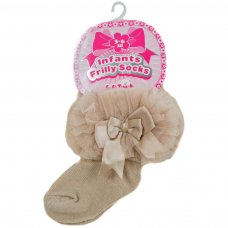 GS114-BE: Beige Plain Socks w/Organza Lace & Bow (NB-6 Months)
