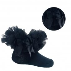 GS114-BLK: Black Plain Socks w/Organza Lace & Bow (NB-6 Months)