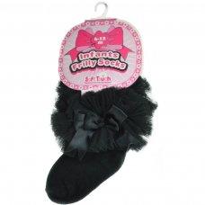 GS114-BLK: Black Plain Socks w/Organza Lace & Bow (NB-6 Months)