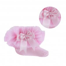 GS114-P: Pink Plain Socks w/Organza Lace & Bow (NB-6 Months)