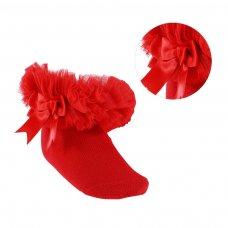 GS114-R: Red Plain Socks w/Organza Lace & Bow (NB-6 Months)