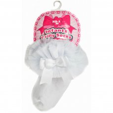 GS114-W: White Plain Socks w/Organza Lace & Bow (NB-6 Months)