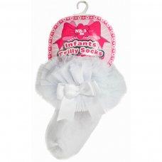 GS114-W: White Plain Socks w/Organza Lace & Bow (NB-6 Months)