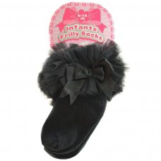 GS116-BLK: Black Plain Socks w/Organza Lace & Bow (6-18 Months)