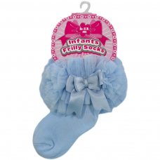 GS116-B: Blue Plain Socks w/Organza Lace & Bow (6-18 Months)