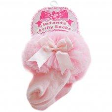 GS116-P: Pink Plain Socks w/Organza Lace & Bow (6-18 Months)