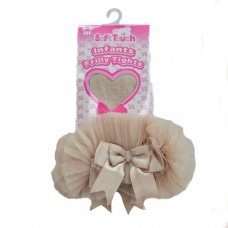 GT62-BE: Frilly Gift Tights w/Organza Lace & Bow (NB-12 Months)