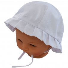 H20-W: White Plain Cloche Hat (0-24 Months)