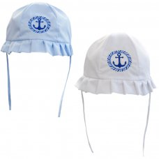 H28: Plain Hats w/Anchor Emb (0-24 Months)
