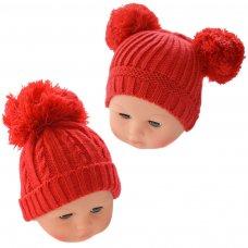 H474-R: Red Pom-Pom Hat (0-12m)
