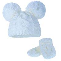 H482-CBE: Heavy Knit Pom-Pom Hat & Mitten Set (0-12m)
