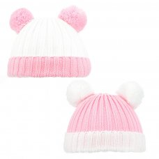 H496-P: Cable Knit Hat w/Fluffy Pom Pom (0-12m)