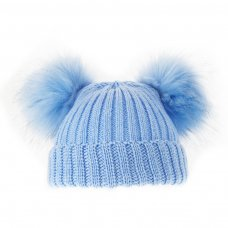 H506-B: Blue Double Pom-Pom Hat (0-12m)