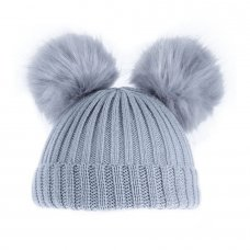 H506-G: Grey Double Pom Pom Hat (0-12m)