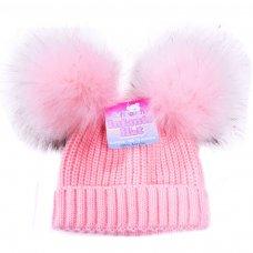 H506-P: Pink Double Pom Pom Hat (0-12m)