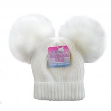 H506-W: White Double Pom Pom Hat (0-12m)
