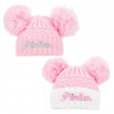 H508-P: Pink Hat w/Princess Embroidery (0-12m)